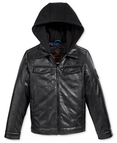 Hawke & Co. Boys' Layered-Look Faux-Leather Hooded Jacket - Coats ...
