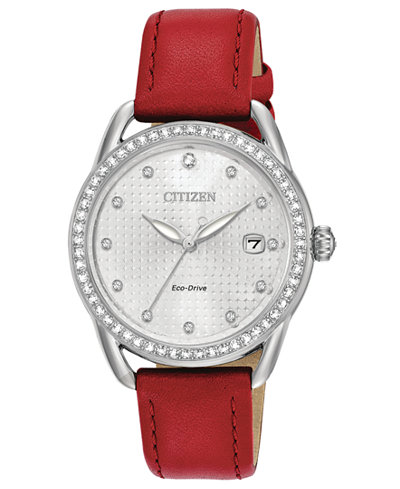 Citizen Drive from Citizen Eco-Drive Women's Red Leather Strap Watch 37mm