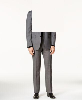 Calvin Klein Men's Slim-Fit Black & White Textured Stretch Suit