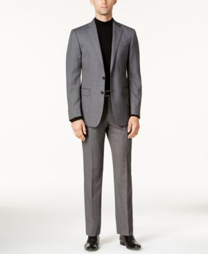 Calvin Klein Men's Slim-Fit Black & White Textured Stretch Suit thumbnail