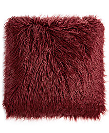 "CLOSEOUT! Martha Stewart Collection 20"" Square Faux Mongolian Fur Decorative Pillow, Created for Macy's"