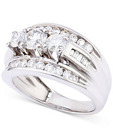 Diamond Channel-Set Engagement Ring (2 ct. t.w.) in 14k White Gold