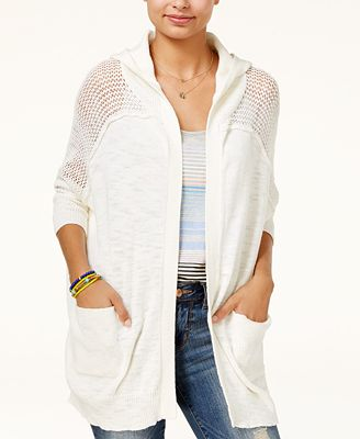 Roxy Juniors' Cotton When We Go Hooded Cardigan - Juniors Sweaters ...