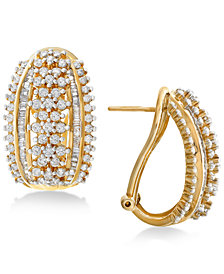 Wrapped in Love™ Diamond J-Hoop Earrings (2 ct. t.w.) in 14k Gold, Created for Macy's