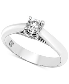 Diamond Solitaire Engagement Ring (1/2 ct. t.w.) in 14k White Gold (Also Available in Rose Gold & Yellow Gold)