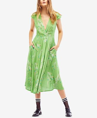 Free People Printed Retro Faux-Wrap Midi Dress