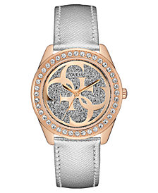 GUESS Women's Logo Silver-Tone Leather Strap Watch 40mm