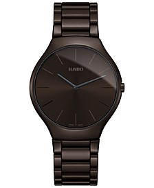 Unisex Swiss True Thinline Brown Ceramic Bracelet Watch 39mm