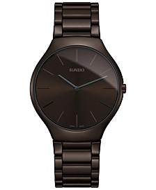 Rado Unisex Swiss True Thinline Brown Ceramic Bracelet Watch 39mm