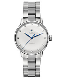 Rado Women's Swiss Automatic Coupole Classic Diamond-Accent Stainless Steel Bracelet Watch 32mm