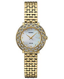 Seiko Women's Solar Tressia Diamond-Accent Gold-Tone Stainless Steel Bracelet Watch 29mm