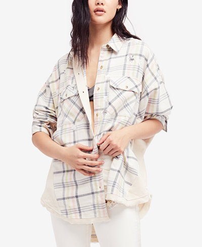 Free People Constellations Within Oversized Plaid Shirt