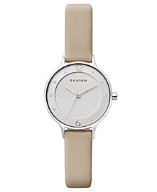 Skagen Women's Anita Nude Leather Strap Watch 30mm