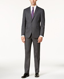 Kenneth Cole Reaction Men's Techni-Cole Slim-Fit Medium-Gray Tonal Suit