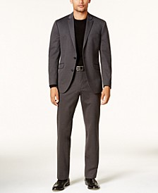 Men's Slim-Fit Charcoal Knit Ready Flex Suit