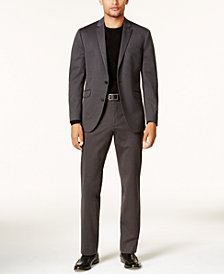 Kenneth Cole Reaction Men's Slim-Fit Charcoal Knit Techni-Cole Suit