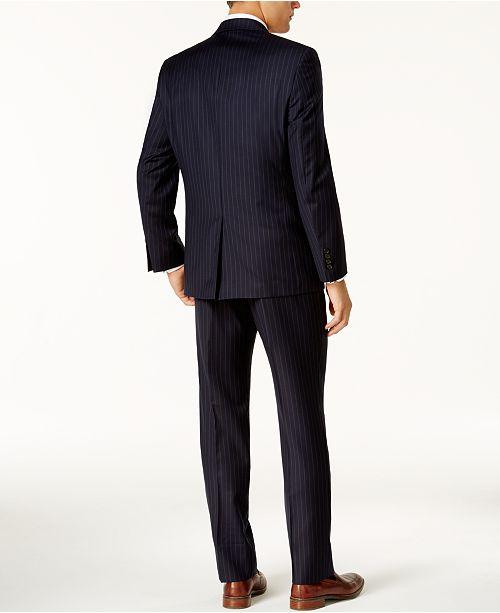 Lauren Ralph Lauren Mens Classic-Fit Dark Blue Pinstripe -2423