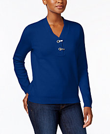 Karen Scott Petite Cotton Henley Sweater, Created for Macy's