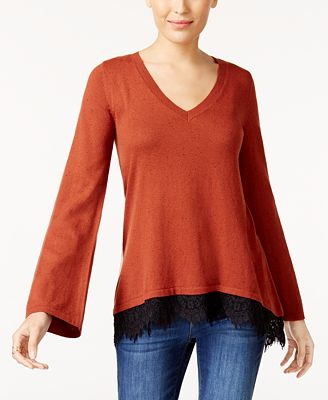 Style Co Lace Trim Sweater Created For Macys Sweaters Women