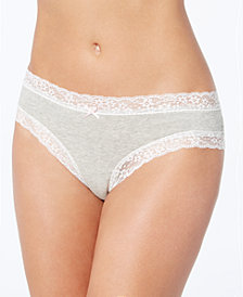 Jenni by Jennifer Moore Cotton Cheeky Lace-Trim Hipster, Created for Macy's