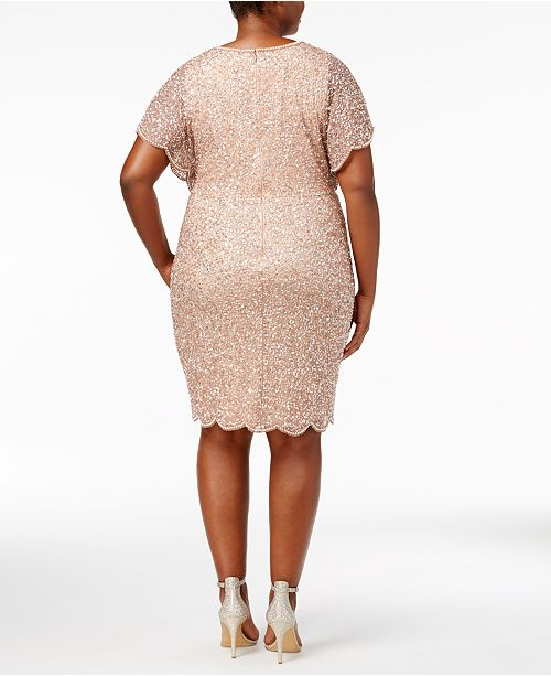 Adrianna Papell Plus Size Beaded Flutter-Sleeve Dress & Reviews ...