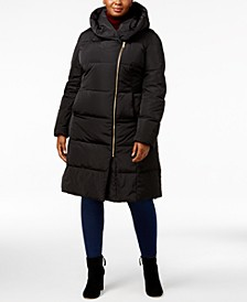 Signature Plus Size Pillow-Collar Puffer Coat