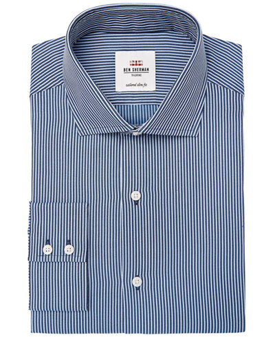 Ben Sherman Men's Slim-Fit Navy Dobby Stripe Dress Shirt