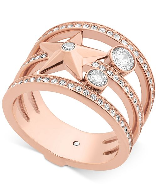Michael Kors Rose Gold-Tone Stainless Steel Crystal   Star Ring ... 513f12d7263