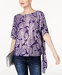MICHAEL Michael Kors Metallic-Print Side-Tie Blouse