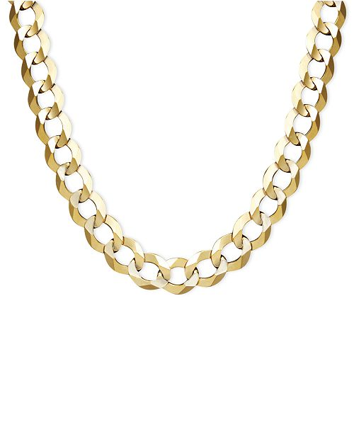 8256c7d099929 22 Men's Curb Chain Necklace (7mm) in Solid 14k Gold