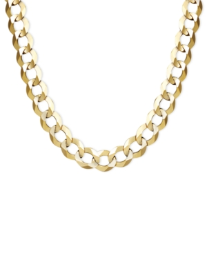 "22"" Men's Curb Chain (7mm) Necklace in Solid 14k Gold"