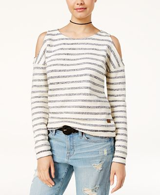 Roxy Juniors' Cotton High Sun Cold-Shoulder Top - Juniors Sweaters ...