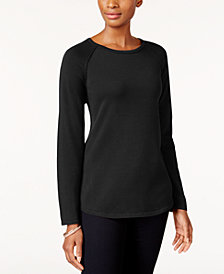 Karen Scott Cotton Curved-Hem Sweater, Created for Macy's