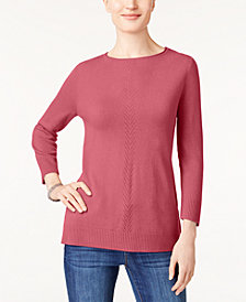 Karen Scott Petite V-Detail Sweater, Created for Macy's
