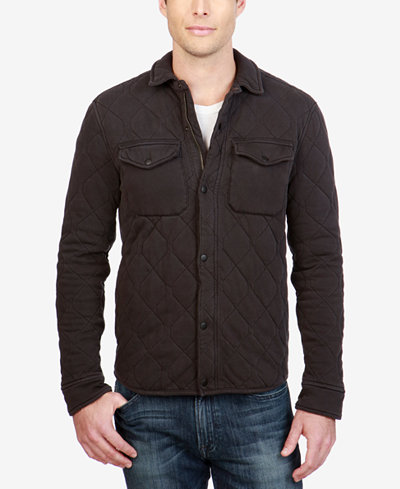 Lucky Brand Men's Quilted Western Shirt Jacket - Coats & Jackets ... : quilted mens jacket outerwear - Adamdwight.com