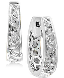 Balissima by EFFY® Diamond (1/8 ct. t.w.) Oval Hoop Earrings in Sterling Silver