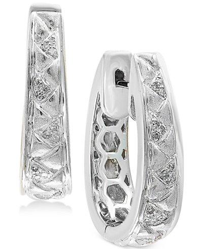 Balissima by EFFY® Diamond (1/8 ct. t.w.) Oval Hoop Earrings in Sterling Silver