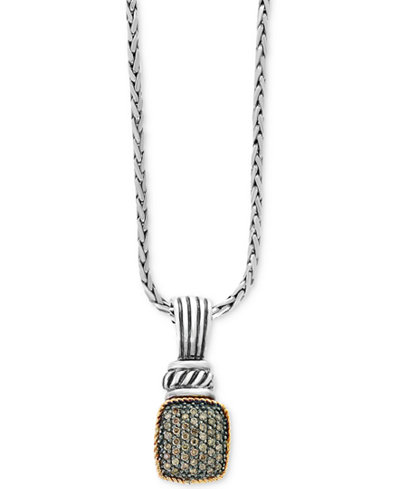 Balissima by EFFY® Diamond Pavé Cluster Pendant Necklace (1/3 ct. t.w.) in Sterling Silver & 18k Gold