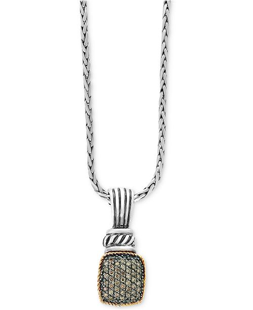 EFFY Collection Balissima by EFFY® Diamond Pavé Cluster Pendant Necklace (1/3 ct. t.w.) in Sterling Silver & 18k Gold