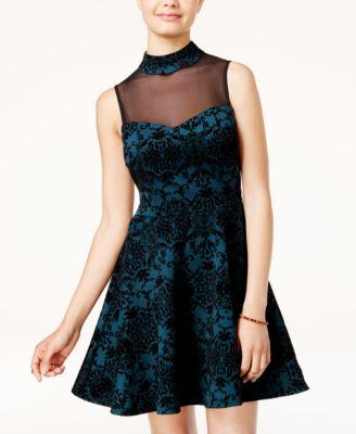 B Darlin Juniors Lace Illusion Fit Amp Flare Dress