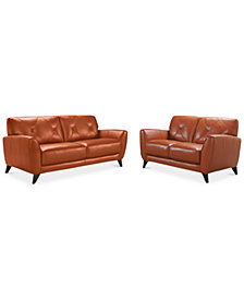 "Myia 82"" Leather Sofa and 62"" Loveseat Set, Created for Macy's"