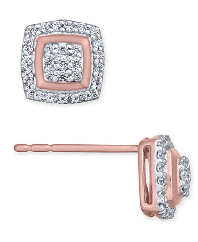 Diamond Square Cluster Stud Earrings (1/5 ct. t.w.) in 10k Gold, Rose Gold or White Gold