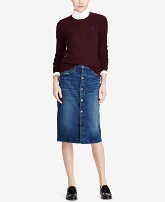 Polo Ralph Lauren Button-Front Denim Pencil Skirt - Skirts - Women ...