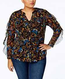 I.N.C. Plus Size Ruffle-Sleeve Mesh Shirt, Created for Macy's