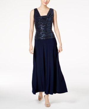 R & M Richards Metallic Sequined A-Line Dress, Regular & Petite Sizes