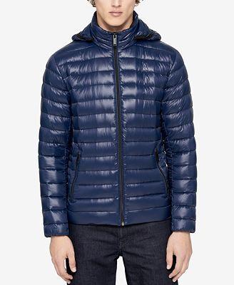 Calvin Klein Mens Packable Down Hooded Puffer Jacket Coats