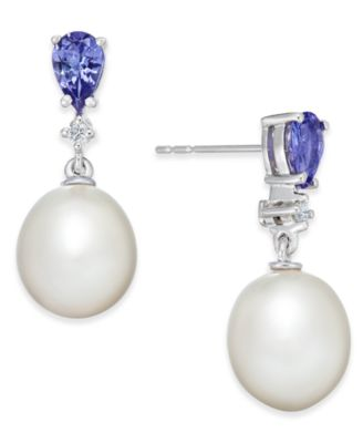 Tanzanite (3/4 ct. t.w.), Cultured Freshwater Pearl (8-1/2mm) & Diamond Accent Drop Earrings in 14k White Gold