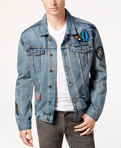Ring of Fire Men's Light Patch Denim Jacket, Created for Macy's ...
