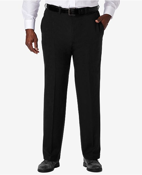 Haggar Men's Big & Tall Cool 18® PRO Classic-Fit Expandable Waist Flat Front Stretch Dress Pants
