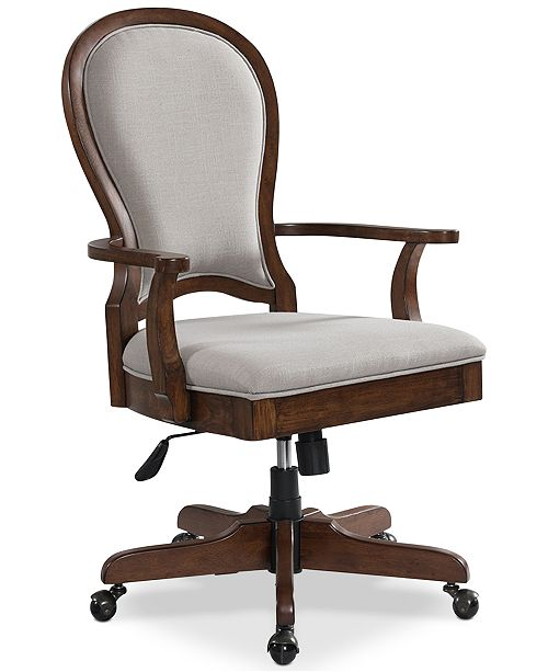 Furniture Clinton Hill Cherry Home Office Round Back Upholstered Desk Chair Created For Macy S